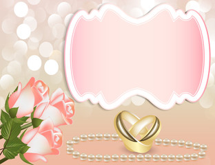 wedding invitation with rose by pearl by tape and ring