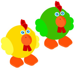 Two cute little rooster