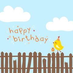 "Yellow Bird On Fence Singing ""Happy Birthday"" Blue"