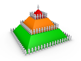 Leadership concept with pyramid and many people