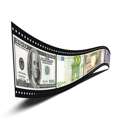 film strip with dollars, euro, yen, pound banknote pictures isol