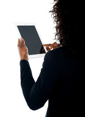 Cropped image of a woman using wireless pc
