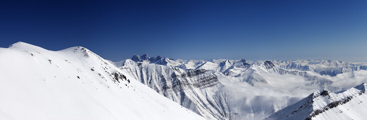Panorama of winter mountains. Caucasus Mountains, Georgia
