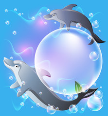 Pair dolphins swims in the water with air bubbles.