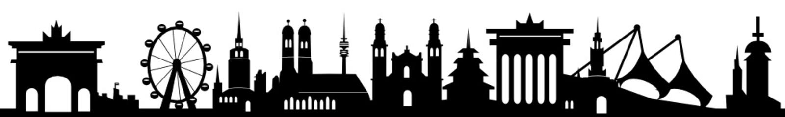 Skyline München mit Wahrzeichen