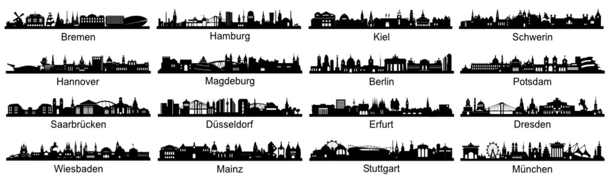 detailed Skylines of german Capitals