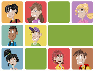 Faces of cartoon teenager students