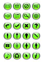 Boutons métalisés vert