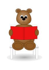 Bear reading a story book