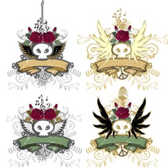 Skull rock icons set