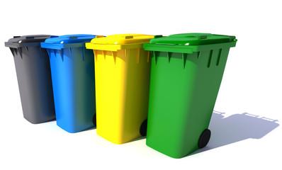 Garbage bins in colors