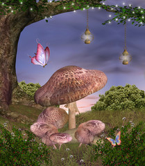Wall Mural - Enchanted nature series - magic mushrooms