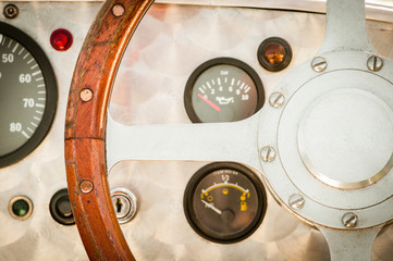 Wall Mural - vintage style steering wheel and dashboard