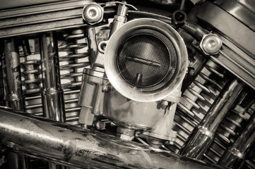 Wall Mural - sepia toned chromed motorcycle engine