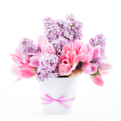 Bouquet from tulips and lilac