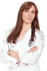 female doctor standing with arms crossed