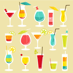 Set of cocktails, vector illustration