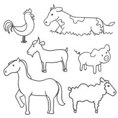 Hand drawn farm animals, vector illustration