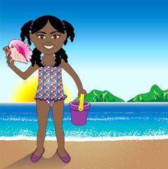 Conch Shell Beach Girl