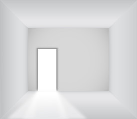 Blank room with opened door
