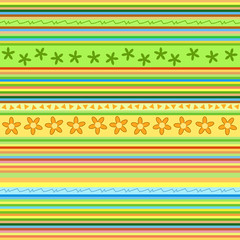 Stripes pattern - floral seamless background vector