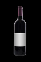 Fototapete - red wine bottle on black with blank label, isolated