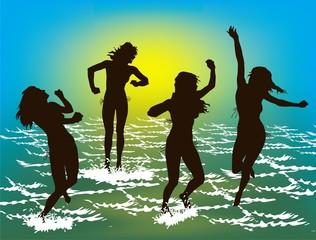women's silhouettes. beach
