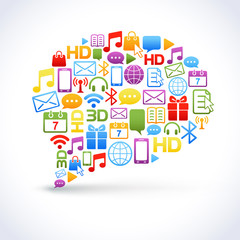 Cloud of colorful application icons