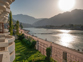 Panorama view of the Holy Ganges river