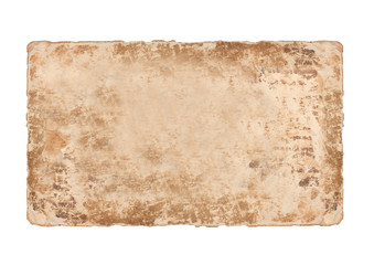 Aged faded paper sheet on white