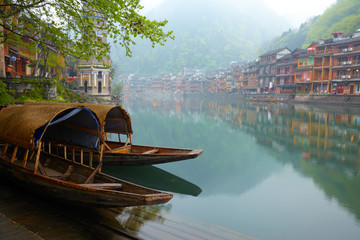 Spoed Fotobehang China Old Chinise traditional town