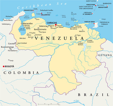 Venezuela political map with capital Caracas, with national borders, most important cities, rivers and lakes. Illustration with English labeling and scaling. Vector.