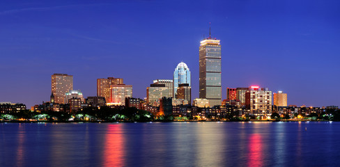Fototapete - Boston city skyline at dusk