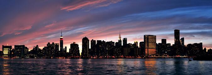 Fototapete - New York City Manhattan sunset panorama