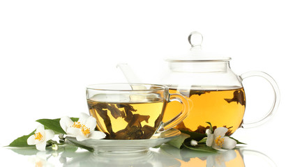 green tea with jasmine in cup and teapot isolated on white