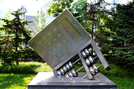 Sculpture of the abacus and calculator