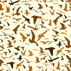 Seamless pattern with seagull silhouettes