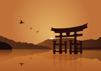 Japon, torii de Miyajima