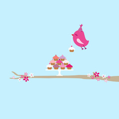 Flying Pink Bird 10 Cupcakes Tree Blue