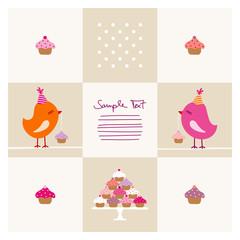Birthday Card 2 Birds Pink/orange Cupcakes Beige