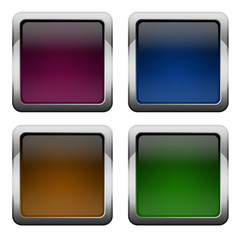 Blank glossy square buttons set
