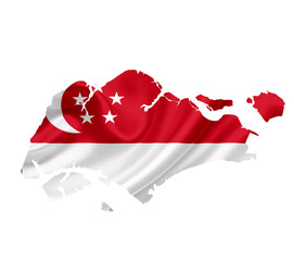 Map of Singapore with waving flag isolated on white
