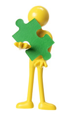 Rubber Figure with Piece of Jigsaw Puzzle
