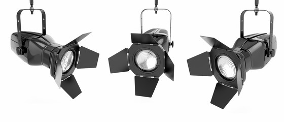 Photo sur Plexiglas Lumiere, Ombre Spotlight or stage light on white isolated background