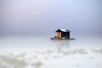 cottage,lake and mist
