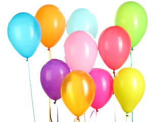 colorful balloons on white background close-up