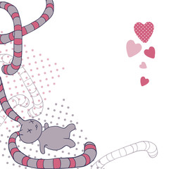 Wall Mural - Funny background with doodle. Vector kawaii illustration.