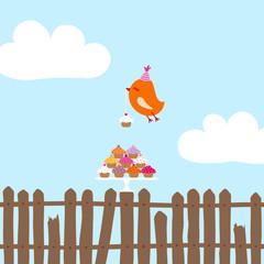 Flying Orange Bird 10 Cupcakes Fence Blue