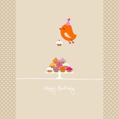 Flying Orange Bird 10 Cupcakes Beige Dots