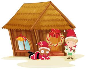 reindeer and boy celebrating christmas